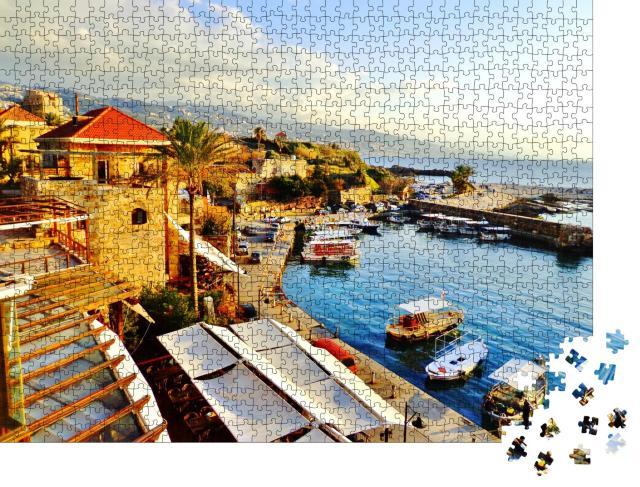 """Puzzle 1000 Teile """"Historischer Hafen und Wasserfront in der antiken Stadt Byblos, Libanon"""""""
