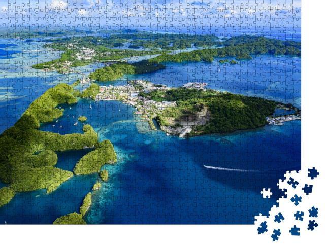 """Puzzle 1000 Teile """"Gesamtansicht der Insel Palau Malakal und Koror"""""""