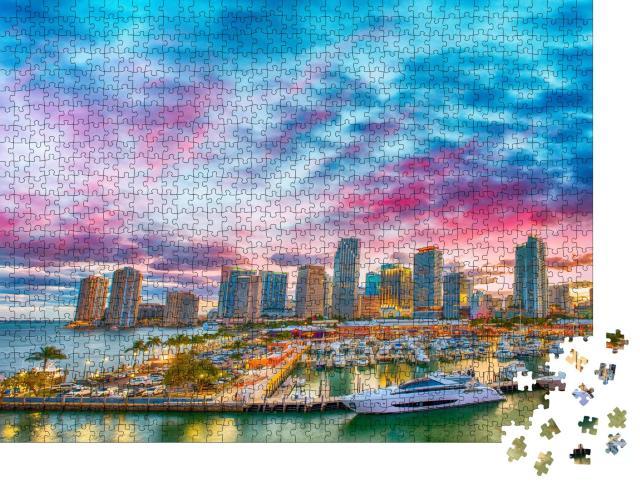 "Puzzle 1000 Teile ""Abenddämmerung über Miami, Florida"""