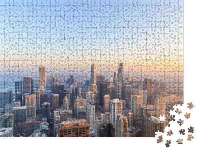 """Puzzle 1000 Teile """"Luftaufnahme von Chicago bei Sonnenuntergang"""""""