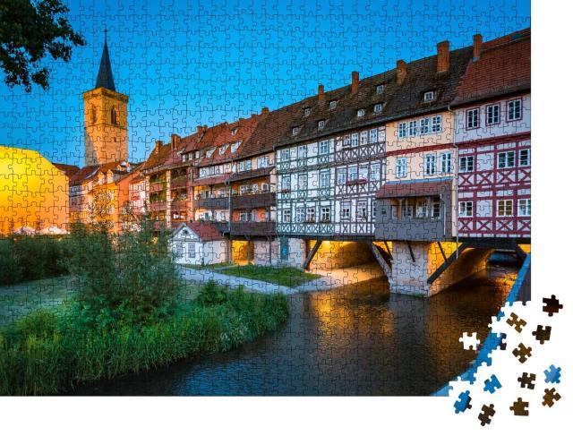 """Puzzle 1000 Teile """"Historisches Stadtzentrum von Erfurt mit Krämerbrücke, Deutschland"""""""