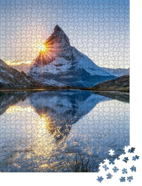 """Puzzle 1000 Teile """"Sonnenaufgang am Riffelsee und Matterhorn, Schweiz"""""""