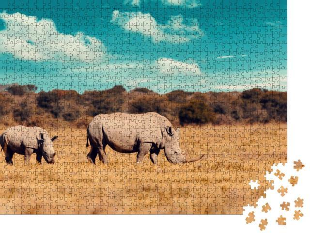 """Puzzle 1000 Teile """"Nashorn-Familie, Mutter mit Baby des Breitmaulnashorns, Botswana"""""""