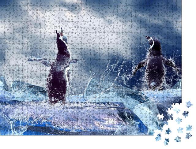 "Puzzle 1000 Teile ""Ein Pinguin auf dem Eis"""