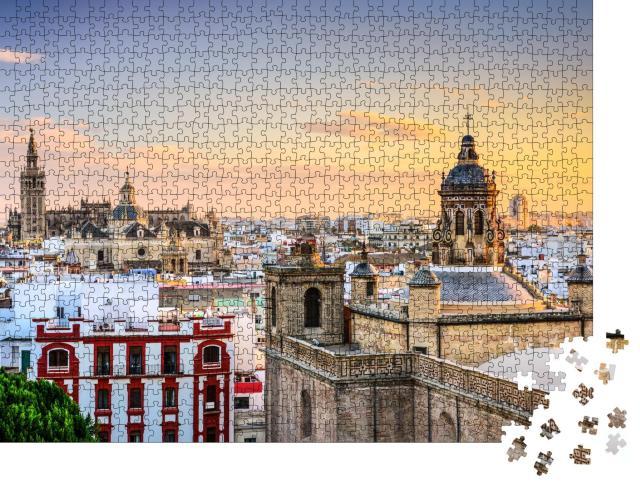 """Puzzle 1000 Teile """"Sevilla: Skyline der Stadt bei Abenddämmerung"""""""