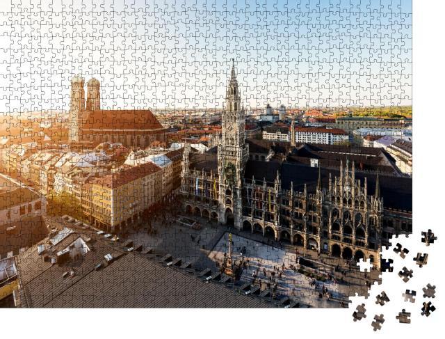"""Puzzle 1000 Teile """"Luftaufnahme: altes Rathaus und Marienplatz, München, Bayern"""""""