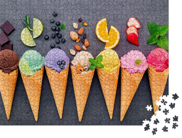 """Puzzle 1000 Teile """"Bunte Eissorten in Waffeln"""""""