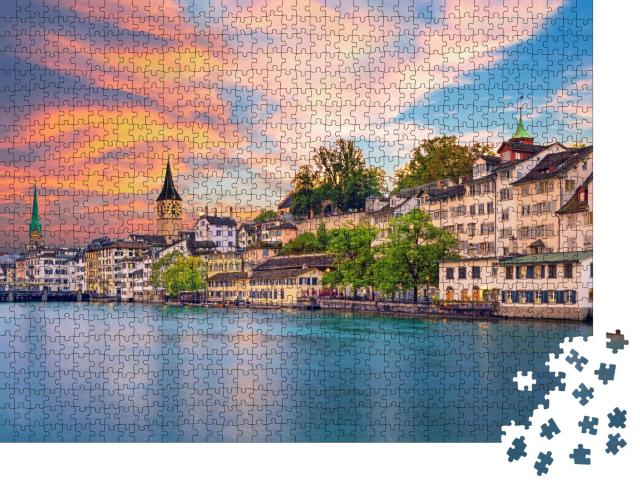 """Puzzle 1000 Teile """"Stadtzentrum von Zürich am Abend"""""""