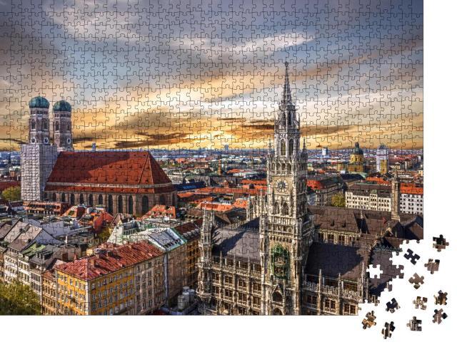 """Puzzle 1000 Teile """"Sonnununtergang über München, Deutschland"""""""