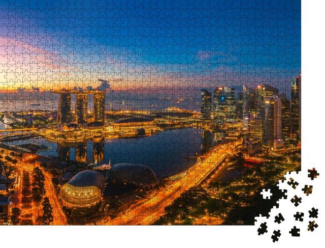 """Puzzle 1000 Teile """"Singapur Stadt, kurz vor Sonnenaufgang"""""""