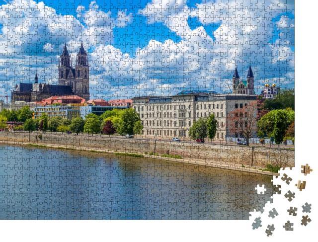 """Puzzle 1000 Teile """"Blick über Magdeburg, Landeshauptstadt von Sachsen-Anhalt, Deutschland"""""""