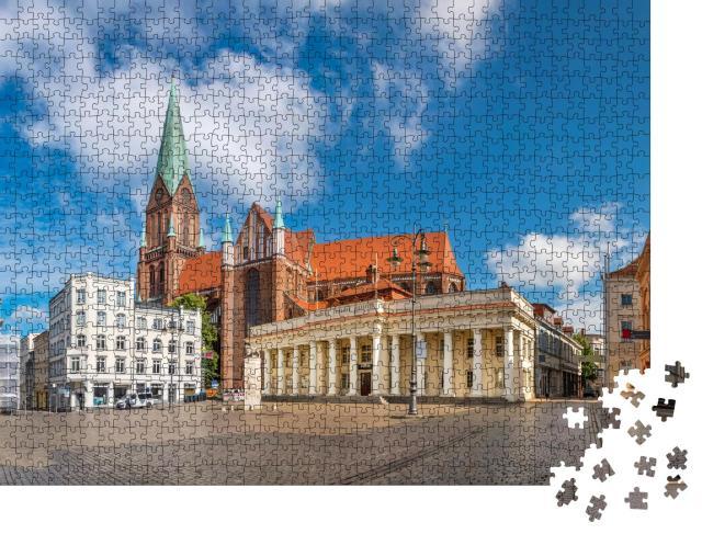 """Puzzle 1000 Teile """"Marktplatz und Dom von Schwerin, Deutschland"""""""