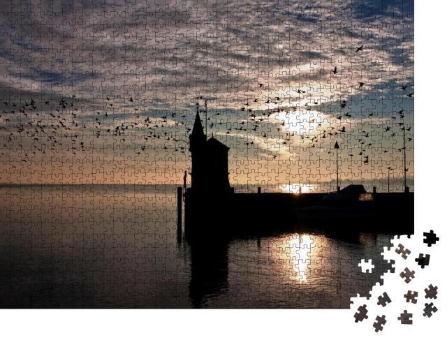 """Puzzle 1000 Teile """"Hafeneinfahrt von Konstanz im Sonnenaufgang, Bodensee, Deutschland"""""""