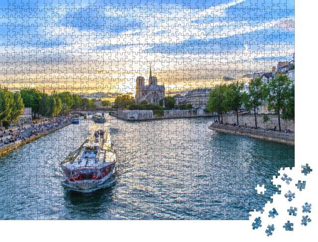 """Puzzle 1000 Teile """"Die Seine an der Kathedrale Notre Dame de Paris"""""""
