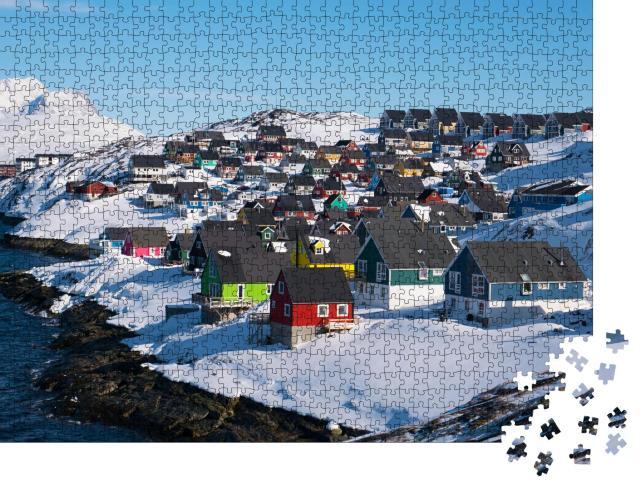 """Puzzle 1000 Teile """"Schöne bunte Häuser von Myggedalen, Nuuk, Grönland"""""""