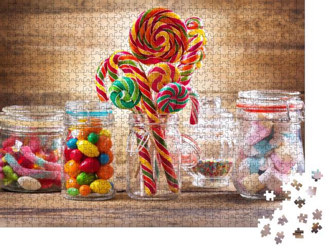 """Puzzle 1000 Teile """"Bunte Bonbons, Gelees, Lutscher, Marshmallows und Marmelade in Glasgefäßen"""""""
