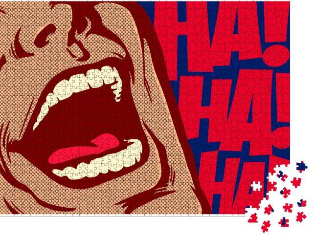 """Puzzle 1000 Teile """"Pop-Art-Stil Mund des Mannes lacht, Comedy"""""""