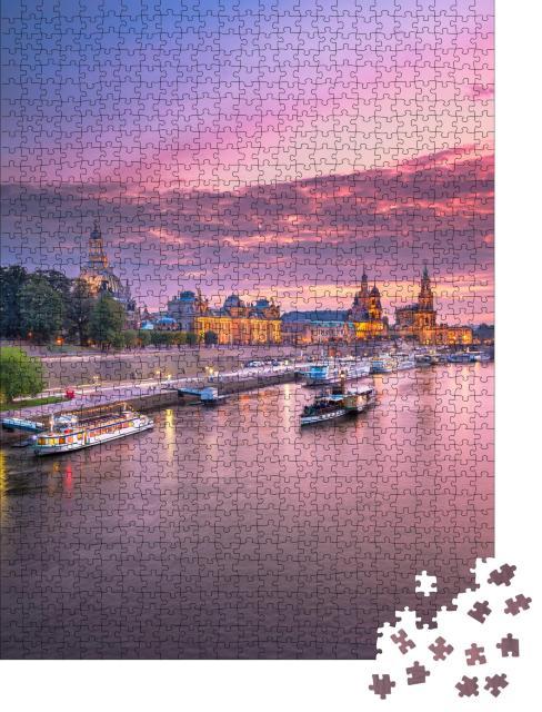 """Puzzle 1000 Teile """"Dresden, Deutschland: Stadtbild am Abend"""""""