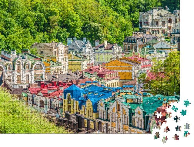 """Puzzle 1000 Teile """"Kiew. Ukraine. Farbige Kiewer Häuser."""""""