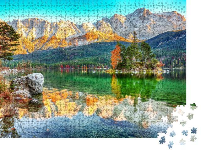 """Puzzle 1000 Teile """"Herbstlandschaft am Eibsee, Garmisch-Partenkirchen, Bayern"""""""