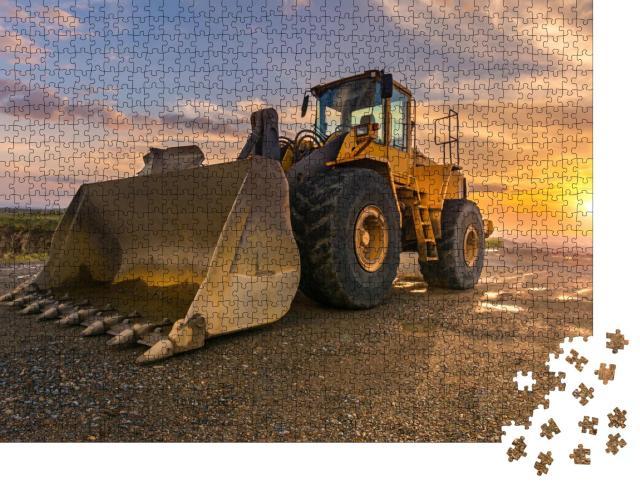 """Puzzle 1000 Teile """"Bagger beim Bau einer neuen Straße"""""""