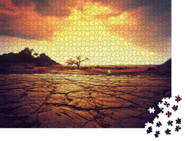 """Puzzle 1000 Teile """"Trockenes Land, einsamer Baum, Sonnenuntergang"""""""