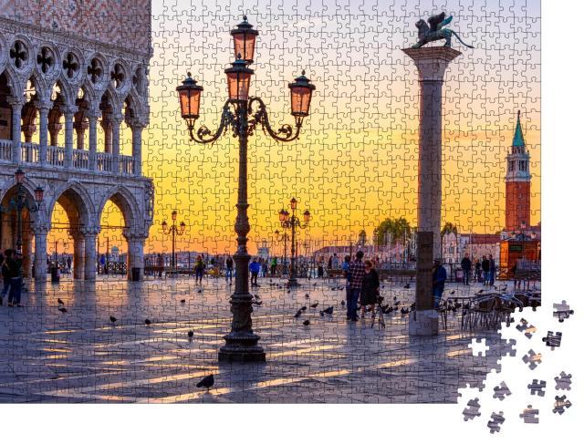 "Puzzle 1000 Teile ""Markusplatz und Dogenpalast am Abend, Venedig, Italien """