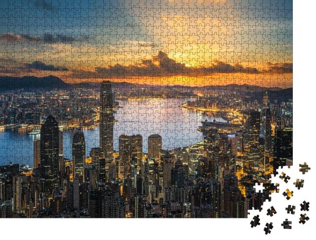 "Puzzle 1000 Teile ""Hongkong im Sonnenuntergang"""