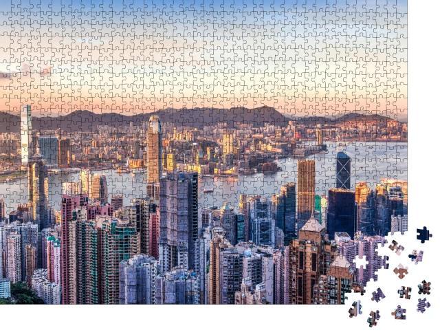 """Puzzle 1000 Teile """"Victoria Harbor mit Blick auf den Victoria Peak, Hongkong"""""""