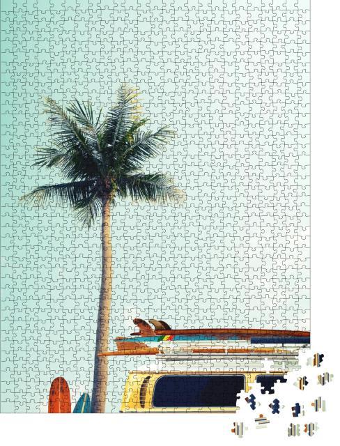 """Puzzle 1000 Teile """"Surfbretter auf dem Dach eines Vintage-Busses"""""""
