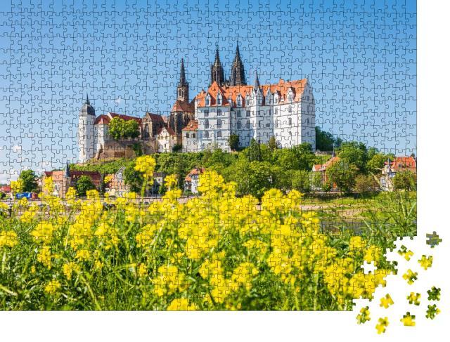 """Puzzle 1000 Teile """"Panorama der malerischen historischen Stadt Meißen, Sachsen"""""""