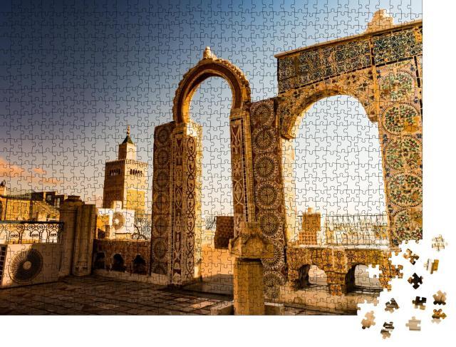 """Puzzle 1000 Teile """"Arabische Architektur: Stadtbild am Morgen, Tunesien, Nordafrika"""""""