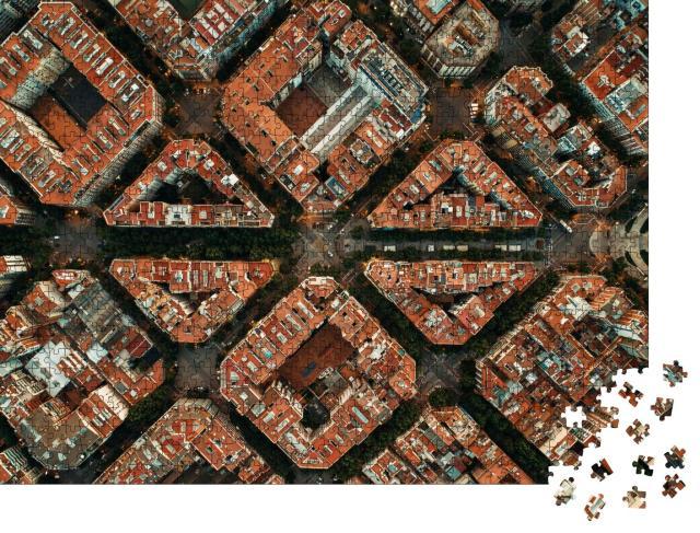 """Puzzle 1000 Teile """"Barcelona Straße Luftaufnahme mit schönen Mustern in Spanien."""""""