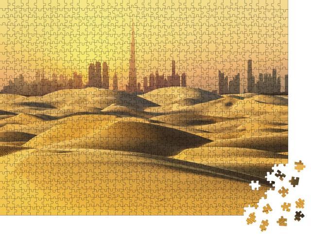 """Puzzle 1000 Teile """"Skyline von Dubai: Wüste bei Sonnenuntergang"""""""