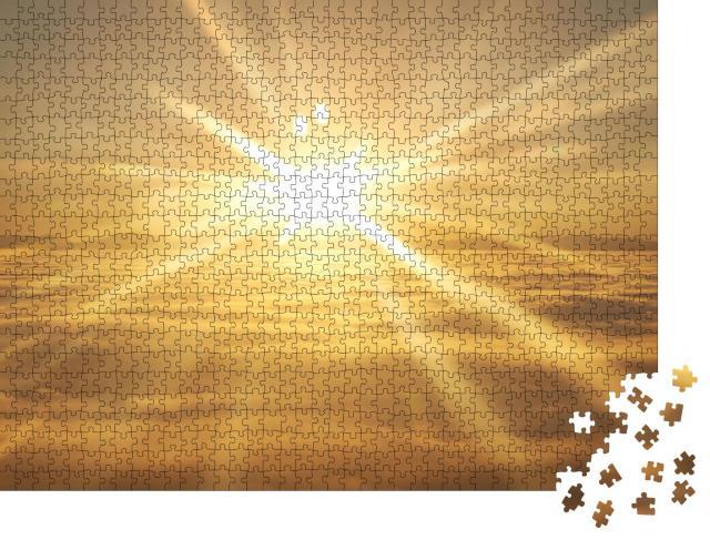 """Puzzle 1000 Teile """"Sonnenuntergang über den Wolken"""""""