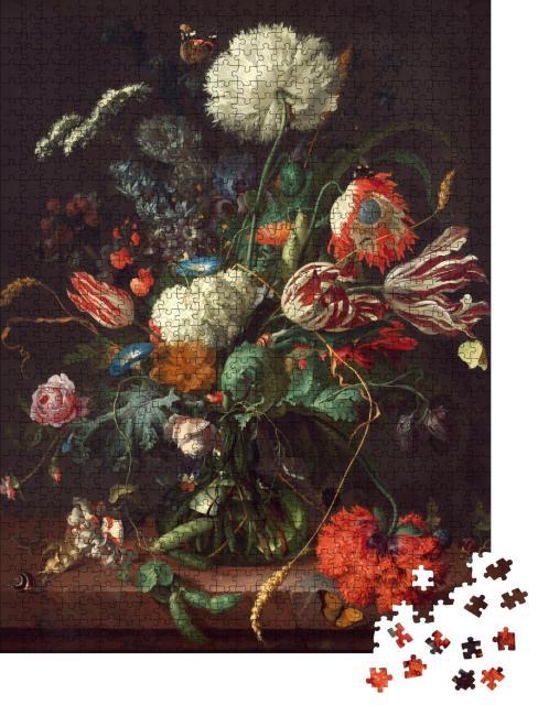 """Puzzle 1000 Teile """"Ölgemälde: Stillleben von Tulpen und Rosen"""""""