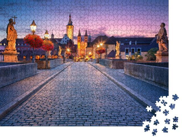 """Puzzle 1000 Teile """"Abend über der alten Mainbrücke in Würzburg, Deutschland"""""""