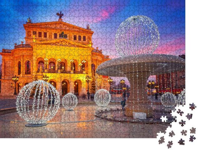"""Puzzle 1000 Teile """"Wunderschön beleuchtete Alte Oper in Frankfurt, Deutschland"""""""
