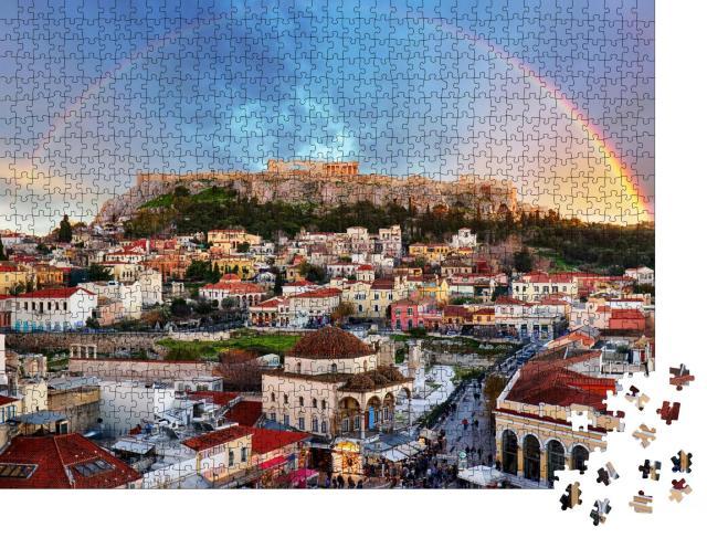 """Puzzle 1000 Teile """"Regenbogen über der Akropolis, Athen"""""""