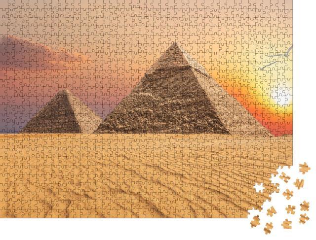 """Puzzle 1000 Teile """"Chephren-Pyramide und Cheops-Pyramide,  Sonnenuntergang, Gizeh"""""""