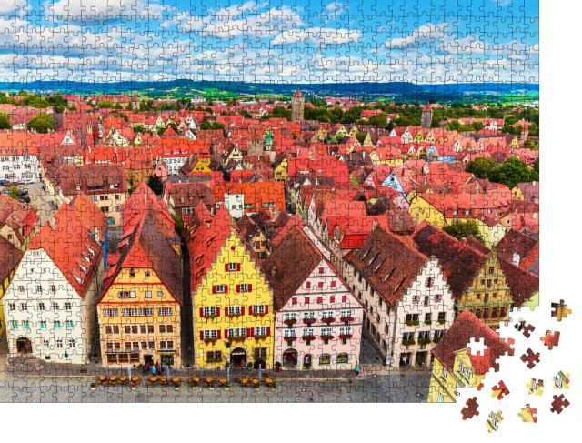 """Puzzle 1000 Teile """"Sommer-Luftbildpanorama der Altstadtarchitektur von Rothenburg ob der Tauber"""""""