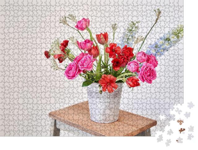 """Puzzle 1000 Teile """"Blumenstrauß: schönes Arrangement mit Vase"""""""