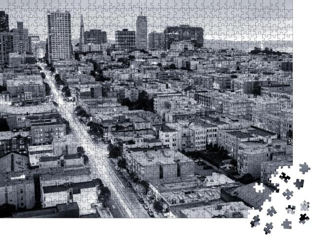 """Puzzle 1000 Teile """"San Francisco von oben, schwarz-weiß"""""""