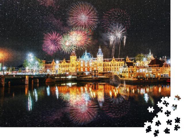 """Puzzle 1000 Teile """"Feuerwerk über Amsterdam"""""""