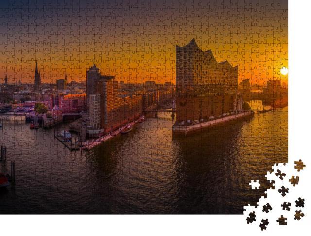 """Puzzle 1000 Teile """"Sonnenaufgang in Hamburg über dem Hafen"""""""