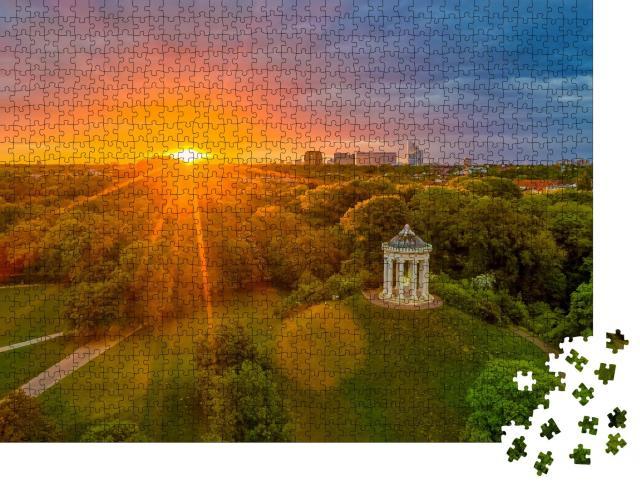 """Puzzle 1000 Teile """"Monopteros-Tempel im Englischen Garten in München, Deutschland"""""""