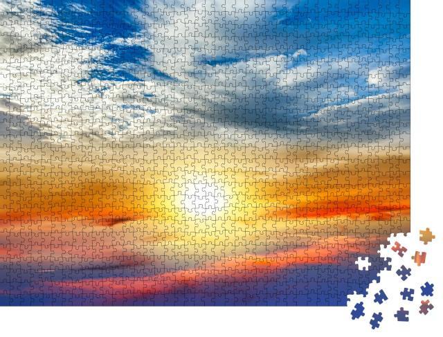 """Puzzle 1000 Teile """"Farbenfroher Sonnenuntergang über den Wolken"""""""