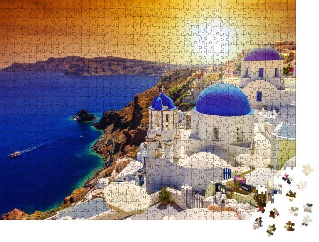 """Puzzle 1000 Teile """"Sonnenuntergang über Oia auf Santorini, Griechenland"""""""