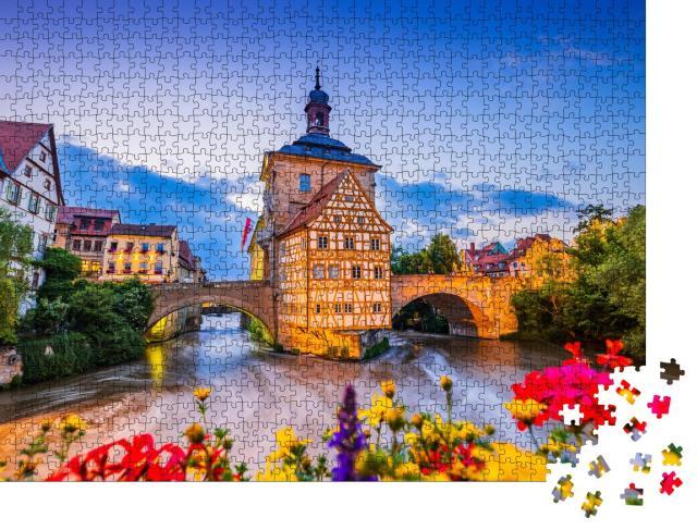 """Puzzle 1000 Teile """"Bamberg, Deutschland: Altes Rathaus über der Regnitz"""""""