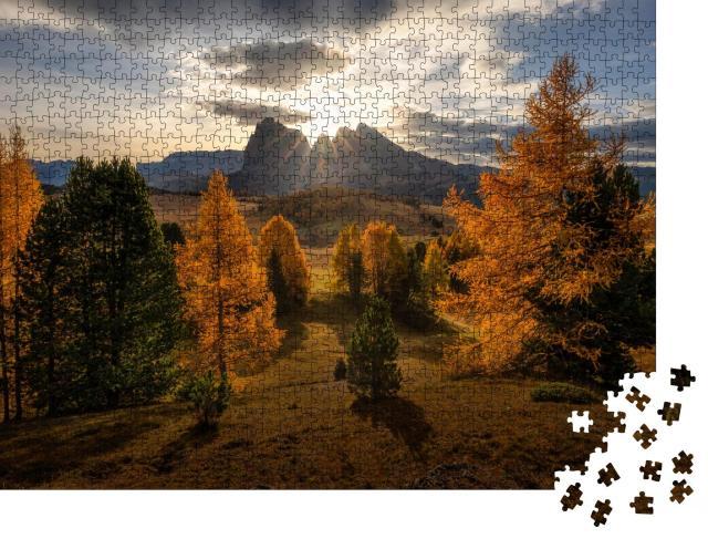 """Puzzle 1000 Teile """"Ein schöner Herbstmorgen in den Dolomiten"""""""
